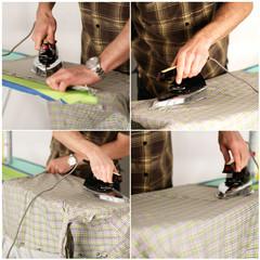 Hausmann beim bügeln - Collage