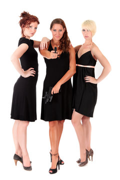 Three women black guns