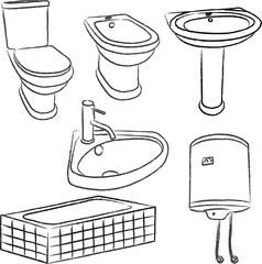 bathroom objects - vector
