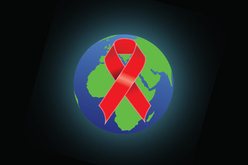 red ribbon as symbol of aids awareness over white
