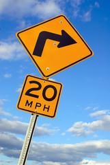 Sharp Turn Warning Sign
