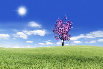 pink tree on nature landscape