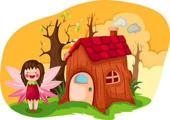 little fairy with wooden house