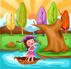 Keuken foto achterwand Magische wereld little fairy sailing boat