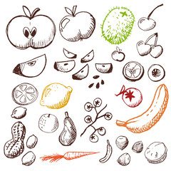 doodle set - fruits and vegetables