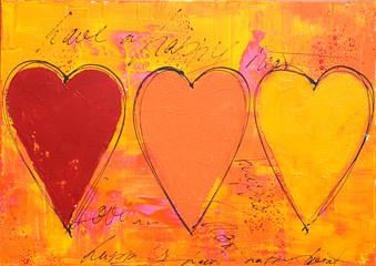 Acrylmalerei 3 Herzen