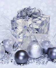 Christmas balls and present box