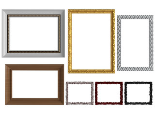 Decorative empty wall picture frames, isolated