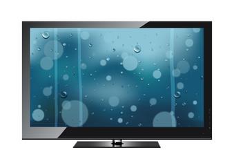 The TV shows a rain