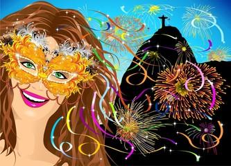 Maschera Carnevale Brasile-Brasil Carnival Mask-Vector