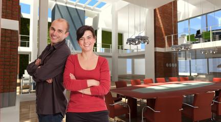 Smiling team in designer office