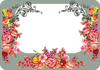 red floral frame on grey