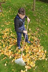 Laub rechen im Herbst