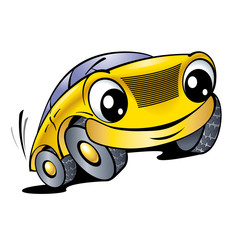 Printed roller blinds Cars Funny yellow car