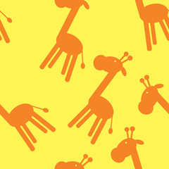 Seamless vector background with giraffe