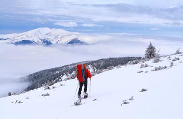 Beautiful winter landscape with man