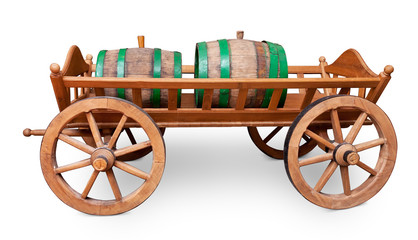 Barrels on cart isolated on white with clipping path