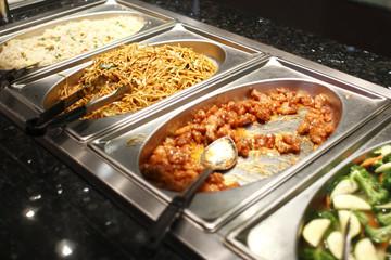 Chinese food at a buffet.