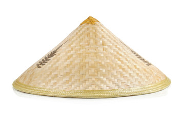 A wide-brimmed rain hat