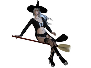 Sexy witch on broomstick