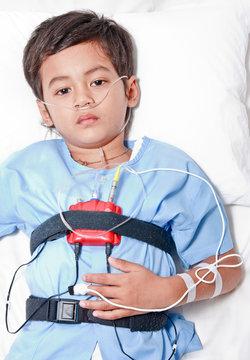 Boy and sleep apnea testing tools