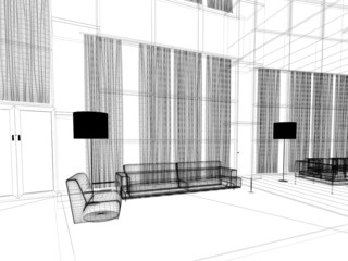divano relax illustrazione sala attesa