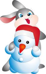 Rabbit and snowman vector