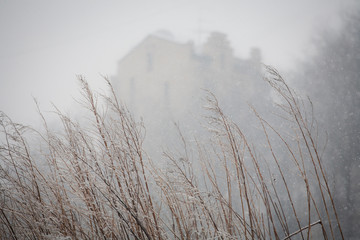 mysterious house in the fog