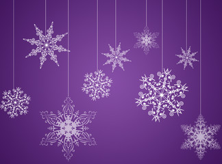 Purple christmas new year background with snowflakes