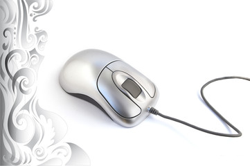 Background. Gray patterns and white  computer mouse