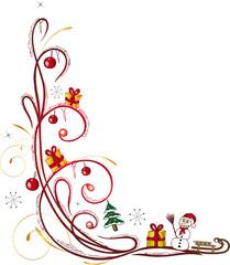 Weihnachten, christmas, Ranke, Schnee, rot, gold