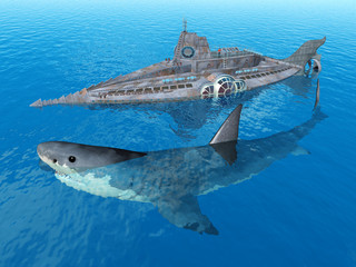 Fantasy Submarine with Monster Shark