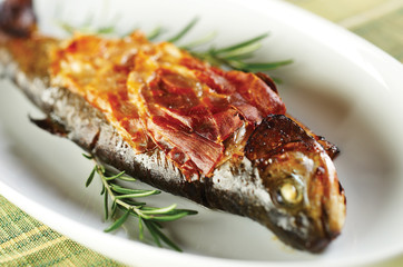 Roasted trout with prosciutto and rosemary