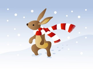 Rabbit with stripped scarf