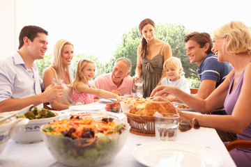 A family, with parents, children and grandparents, enjoy a picni