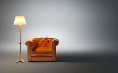 leather armchair and classic floor lamp Wall mural