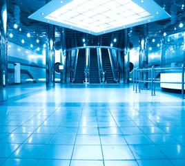 business hall with escalators