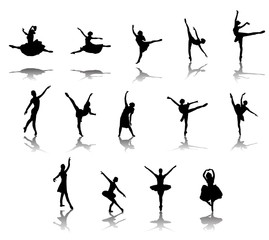 Silhouettes of ballerinas