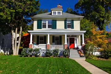Suburban Maryland Single Family House Prairie Style Home Autumn