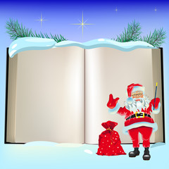 Christmas open book and Santa Claus