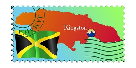 Kingston - capital of Jamaica. Vector stamp