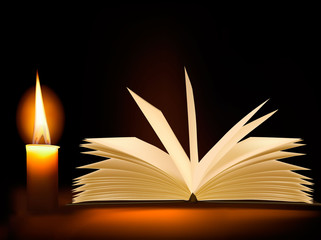Old book and a candle. Vector.