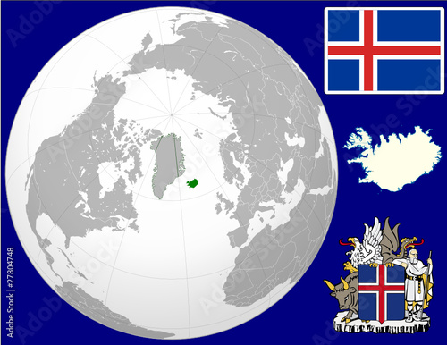 Iceland globe map locator world flag coat stock image and royalty iceland globe map locator world flag coat gumiabroncs Gallery