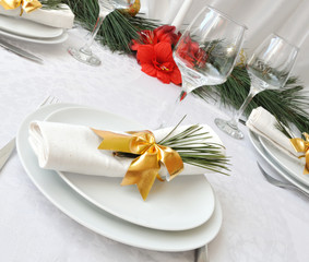 New Year or Christmas table close-up