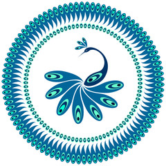 Peacock. Decorative pattern for plate.
