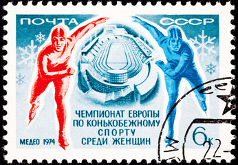 Canceled Soviet Russia Postage Stamp Speed Skating Man Woman Rin