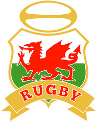 Rugby ball with dragon shield