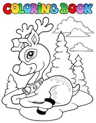 Coloring book Christmas reindeer 1