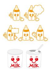 哺乳瓶と粉ミルク缶のキャラクター