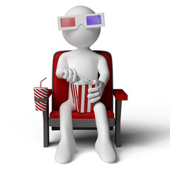 3D human in the cinema, eating popcorn with 3D glasses